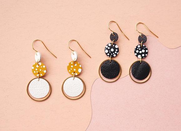 Triple Tier Circle Earrings w/ Spots