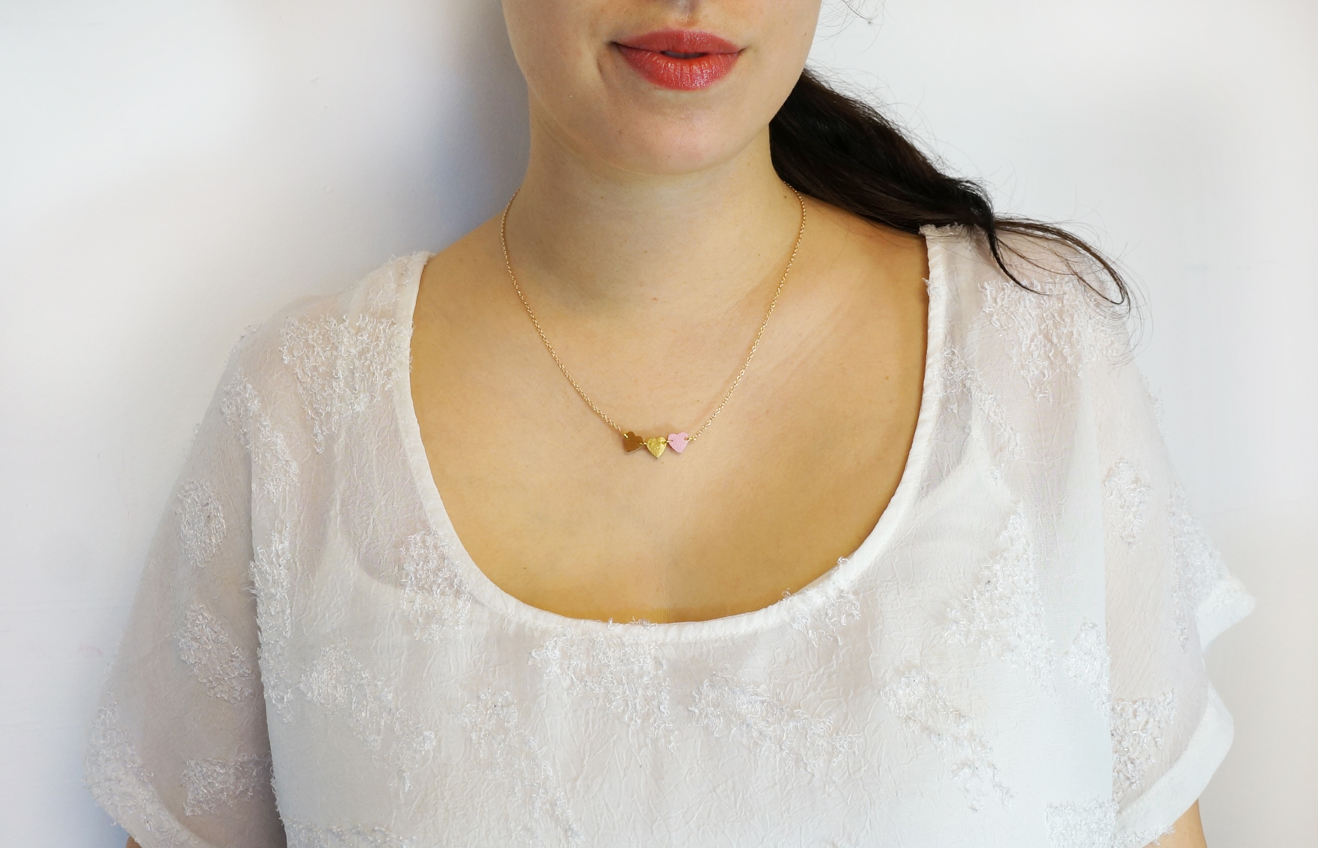 Mini Heart Necklace on Gold Chain