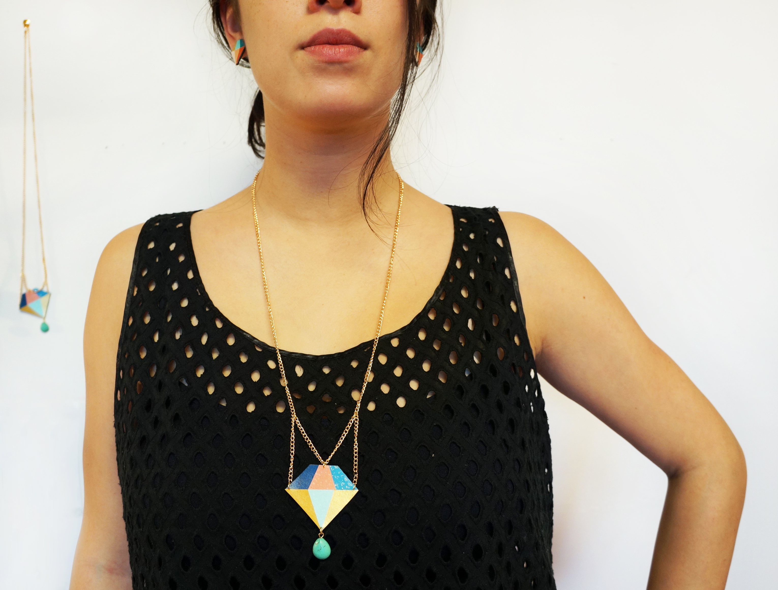 Geometric Diamond Bling Necklace
