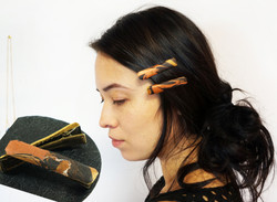 Marbled leather Hair Barrette Clip