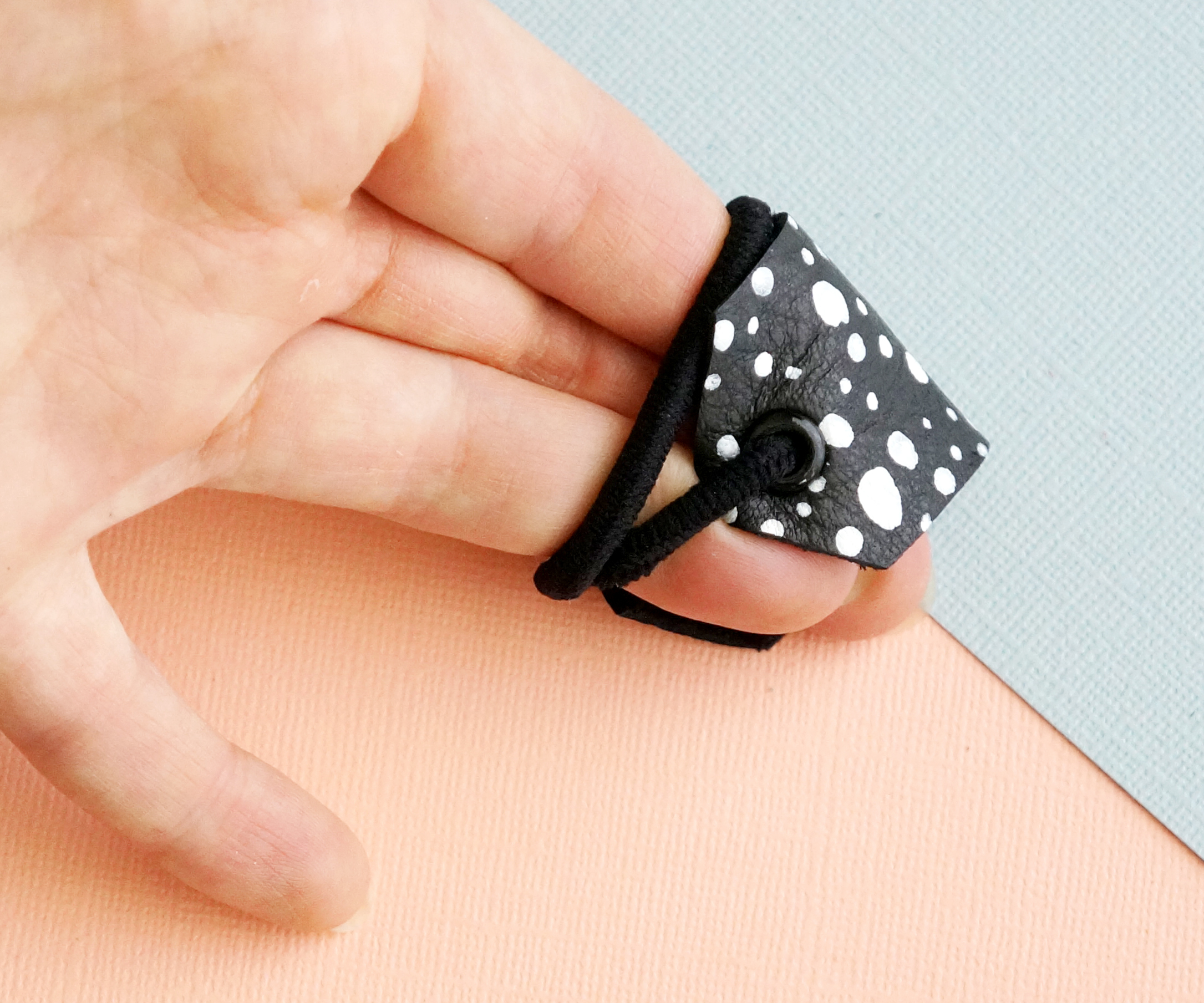 Spotted Leather Hair Cuff