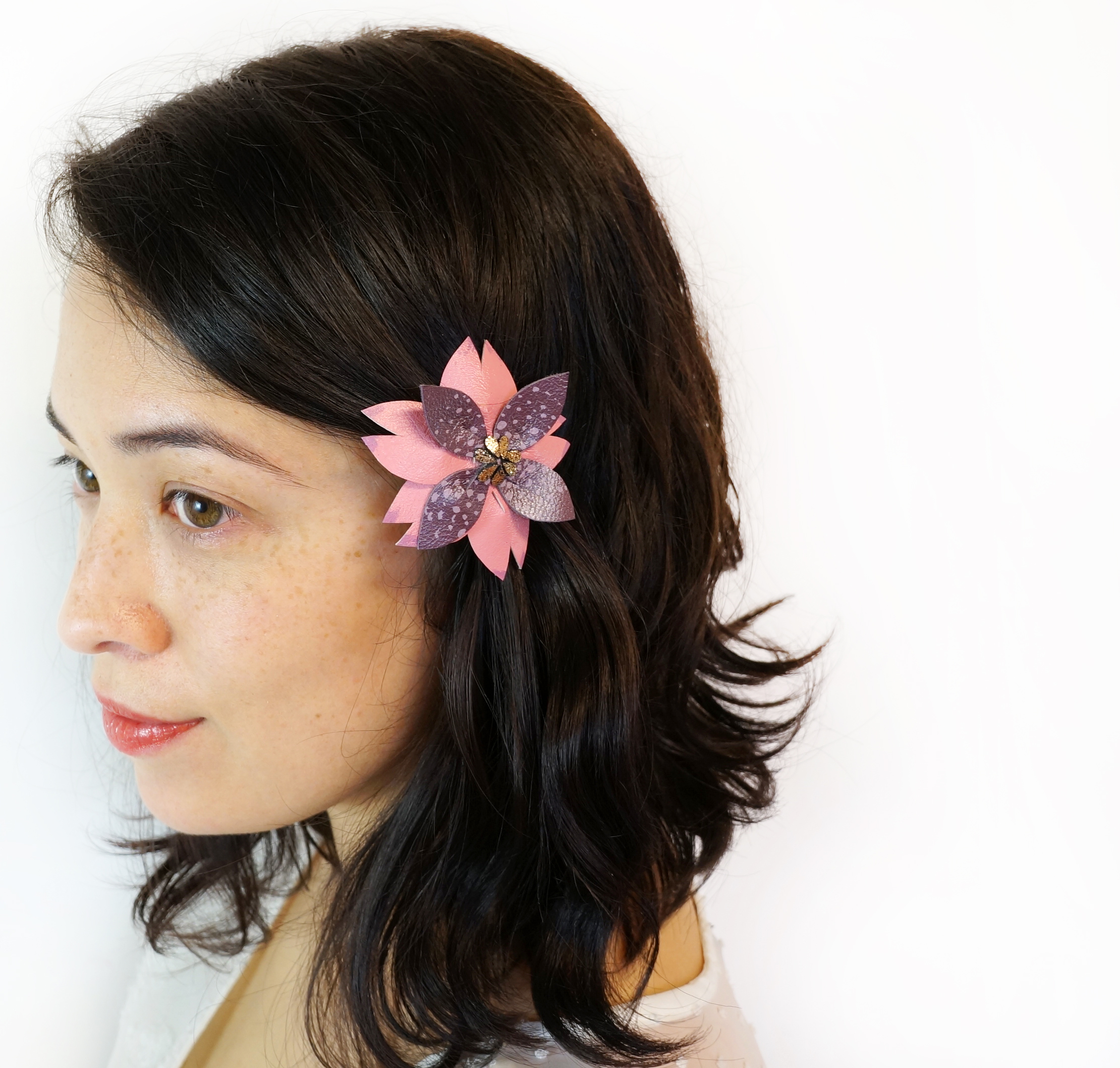 Fuchsia Flower Leather Hair Clip