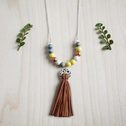 Spotted Circle Tassel Necklace