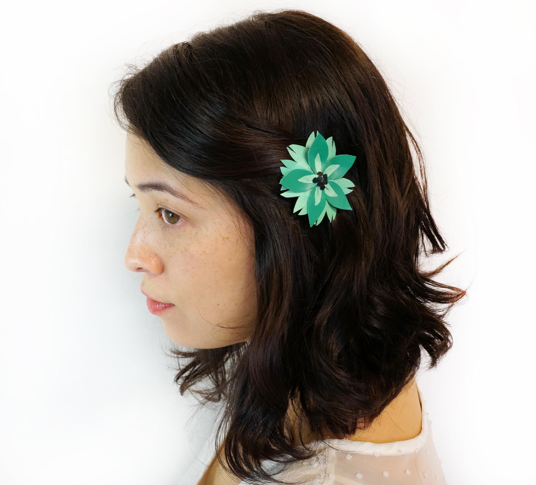 Turquoise Achillea Flower Hair Clip.