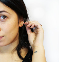 Half-Painted Leather Circle Studs