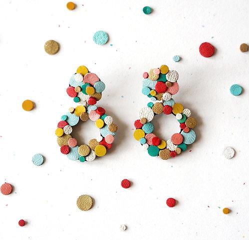 Rainbow Confetti Donut Circle Earrings