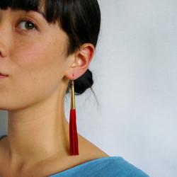 Cone-Capped Tassel Earrings