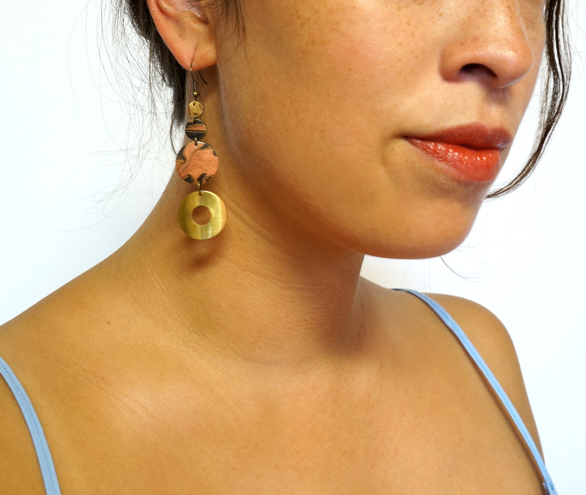 Tiered Marbled & Brass Earrings