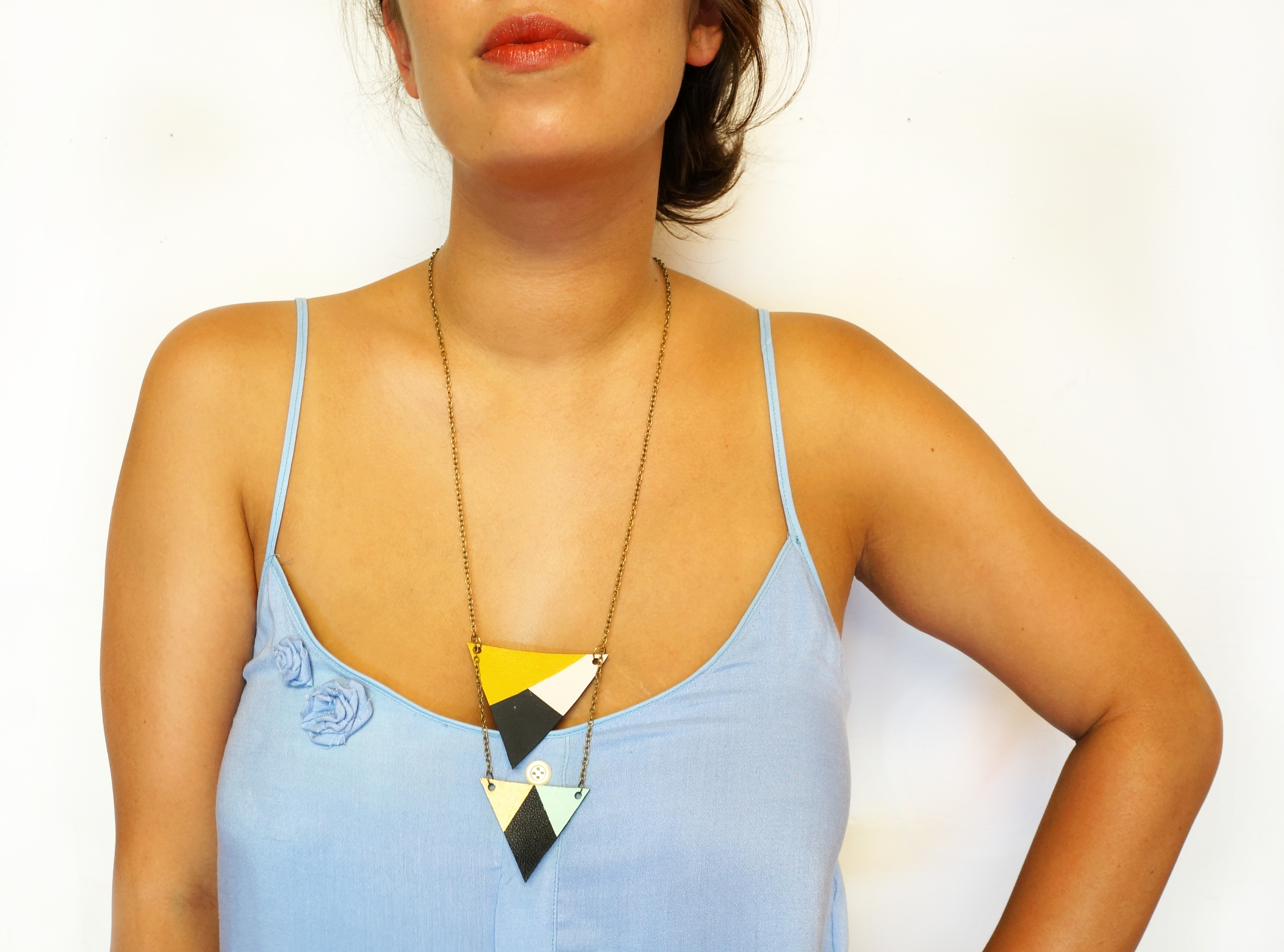 Blocked Painted Triangle Necklace