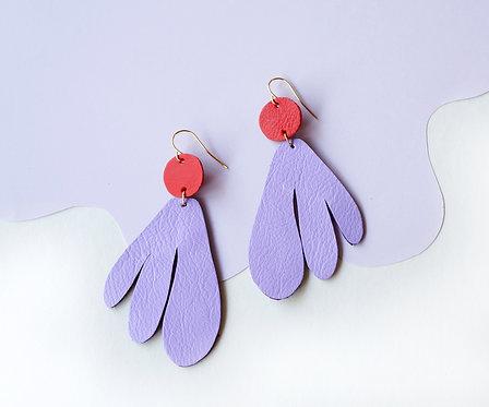Algas Earrings - Lavender + Red (Matching)
