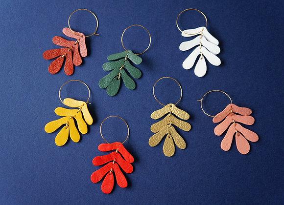 Oak Leaf Hoop Earrings