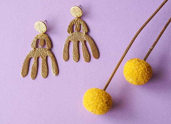 WS- COMB Earrings in Gold Lamé
