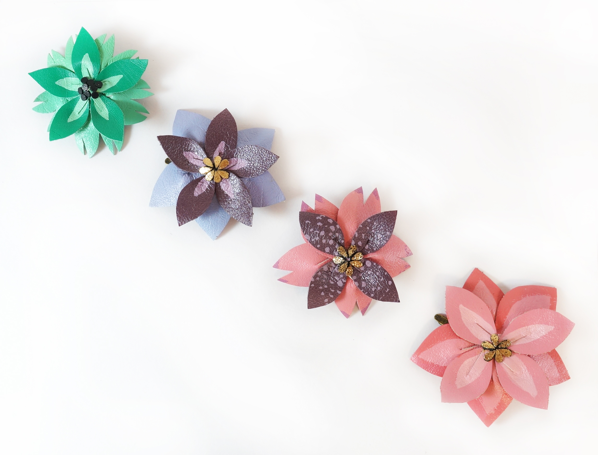 Floral Leather Hair Clips