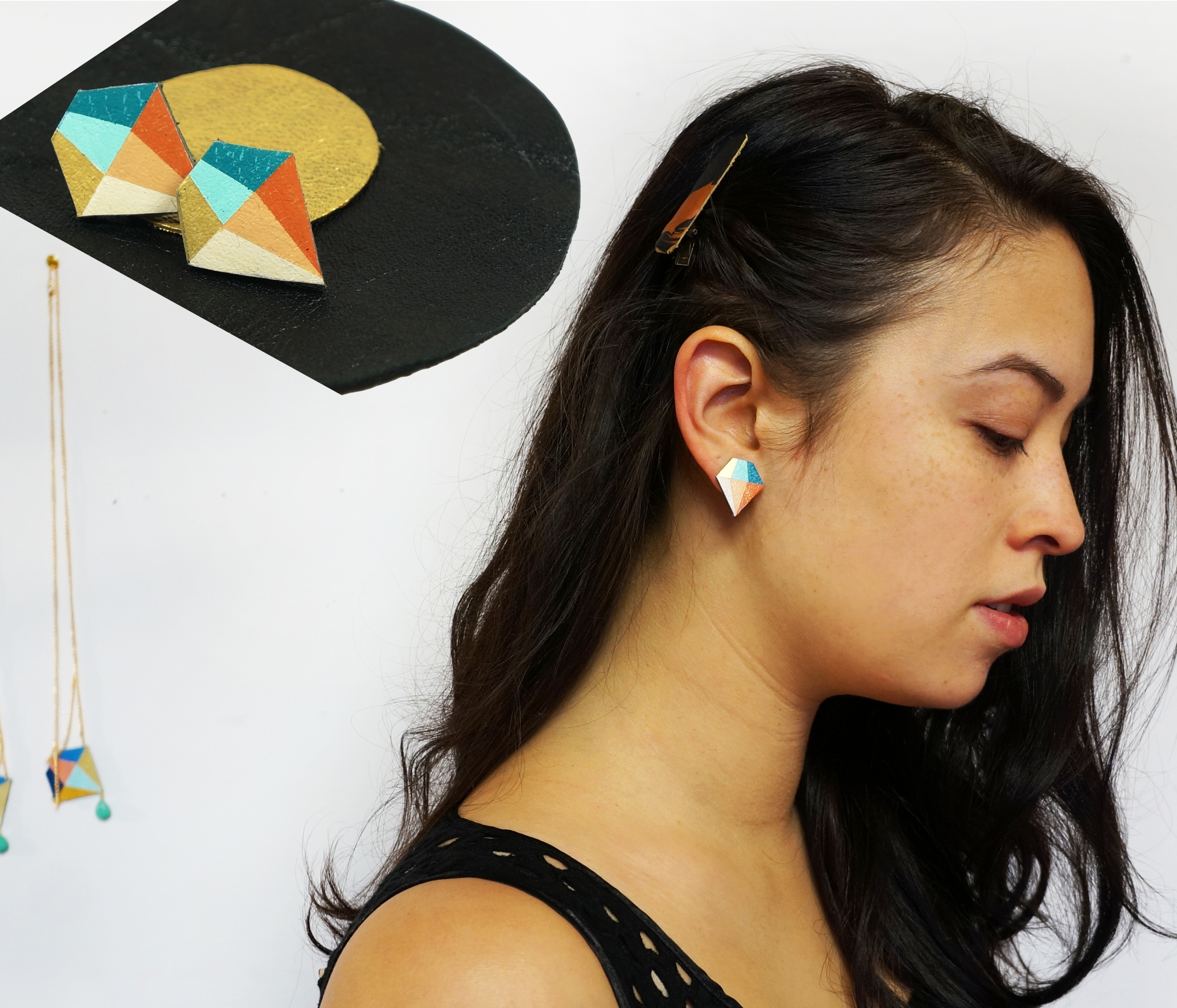 Pastel Graphic Leather Diamond Studs