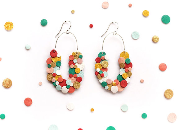 Rainbow Confetti Horseshoe Scoop Earrings
