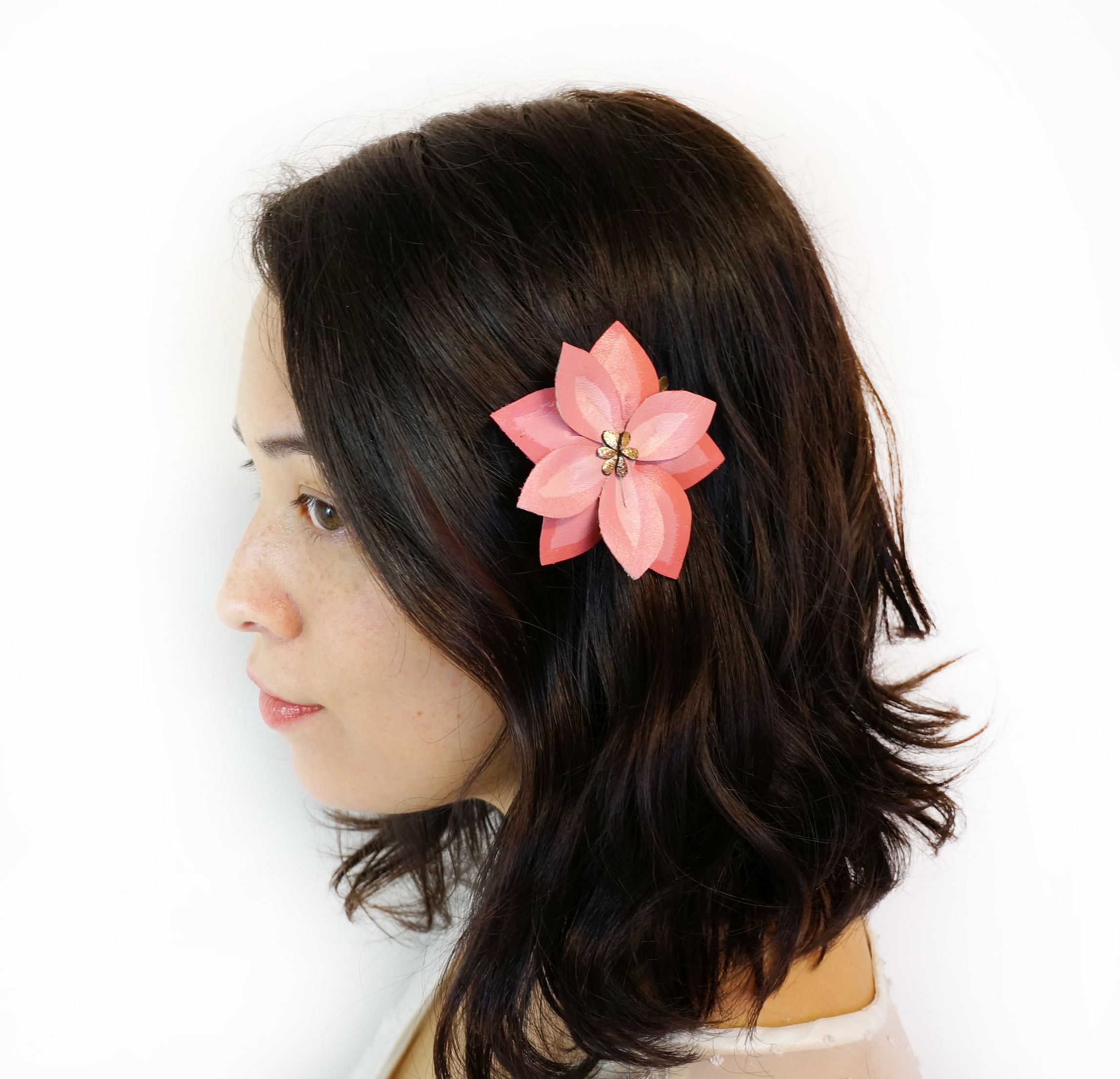 Pink Clemantis Flower Hair Clip.