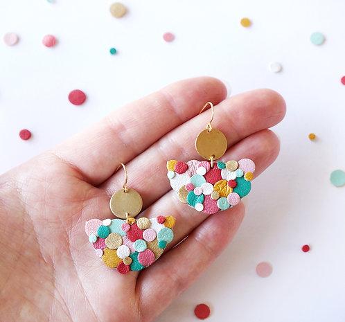 Rainbow Confetti Half Moon Circle Earrings