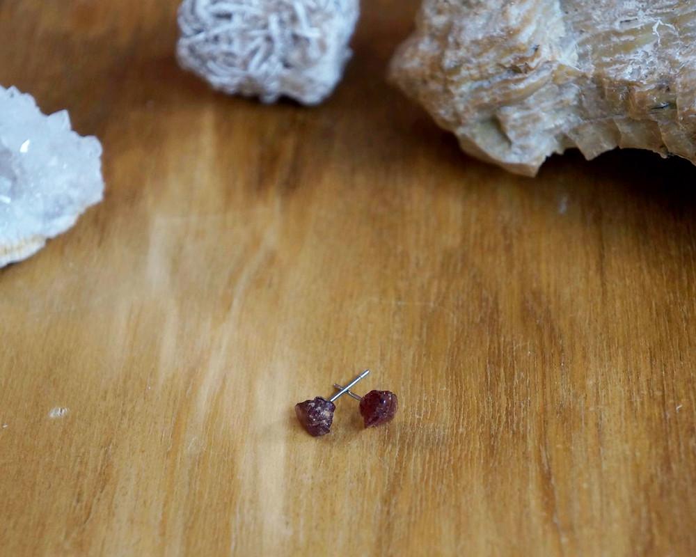 Rhodolite Garnet Crystal Studs