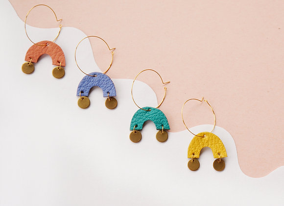 ARCH Hoop earrings w/ Brass Circles