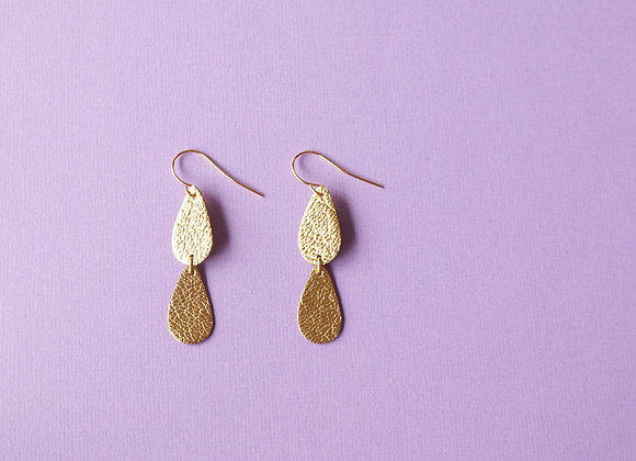 Tiered Droplet Earrings in Gold Lamé