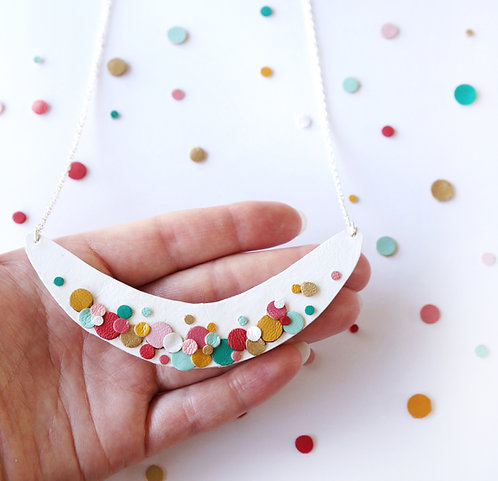 Rainbow Confetti Spotted Necklace - White Background