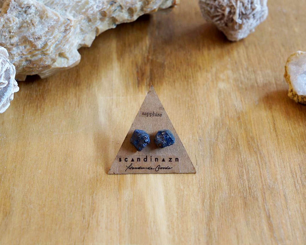 Deep Blue Sapphire Gemstone Nugget Earrings