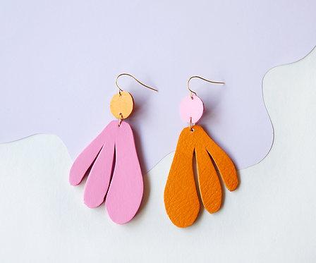Algas Earrings - Asymmetrical Creamsicle + Rosé