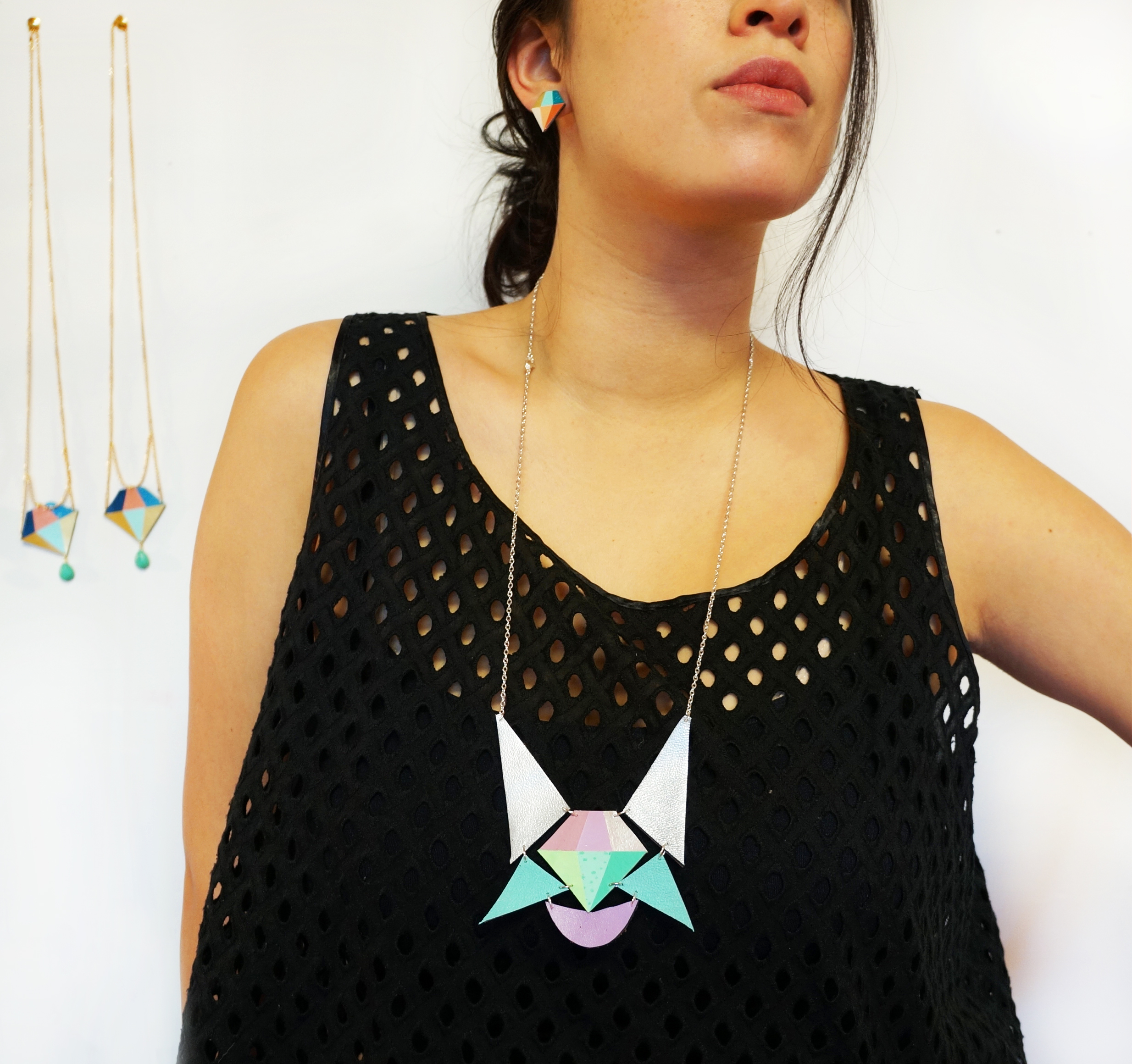 Diamond Polygon Statement Necklace