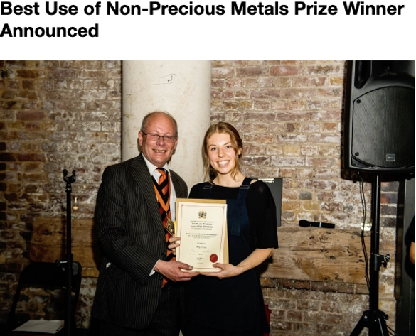 Best Use of Non-Precious Metals Prize Winner Announced, Emily Grimble, Central Saint Martins BA (Hons) Jewellery Design, Worshipful Company of Tin Plate Workers alais Wire Workers, Livery Company of the City of London, Andrew Balcombe