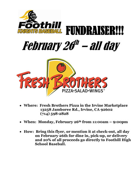 Fresh Brothers Fundraiser - Eat Out - Feb 26th All Day