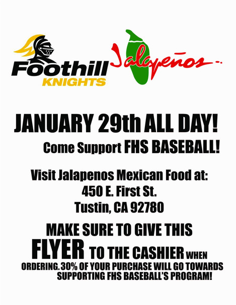 Jalapenos Eating Out - January 29th - ALL DAY