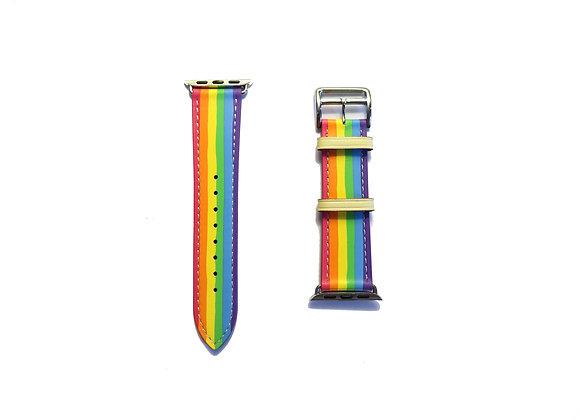Apple Watch Girth Buckle Leather Strap (Rainbow)