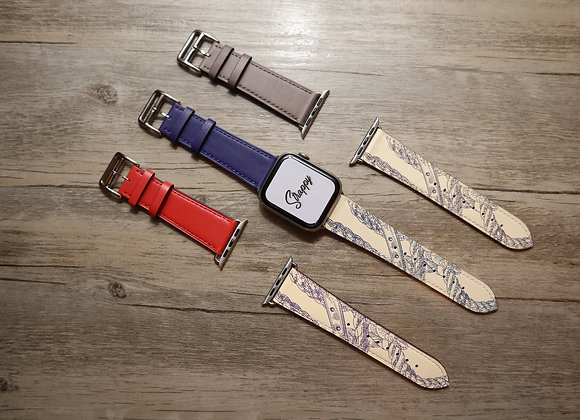 Apple Watch Girth Buckle Leather Strap (Pattern)