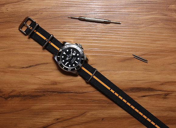 NATO Watch Strap (Black and Orange)