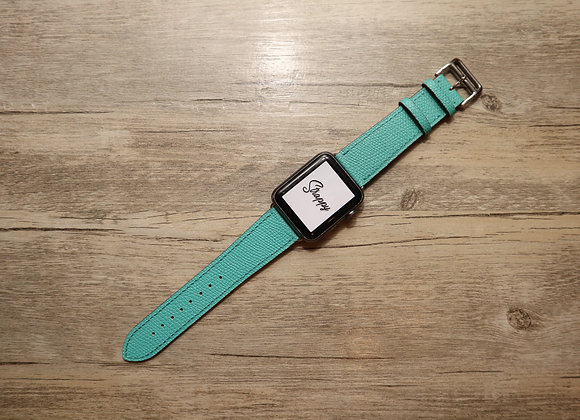 Apple Watch Girth Buckle Leather Strap in Tiffany Blue