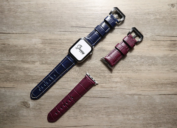 Apple Watch Embossed Alligator Grain Leather Watch Strap