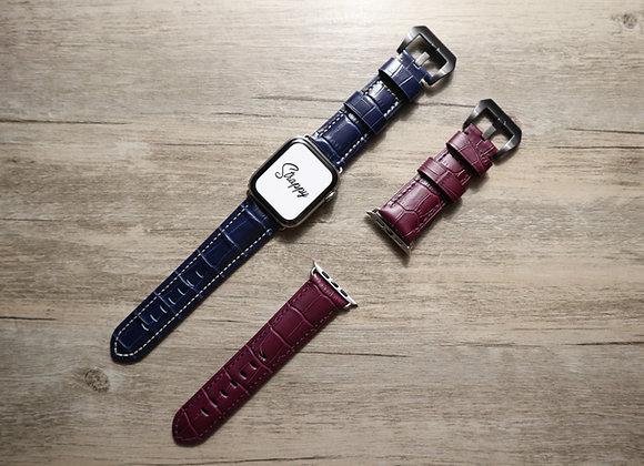 Apple Watch Embossed Alligator Grain Leather Watch Strap