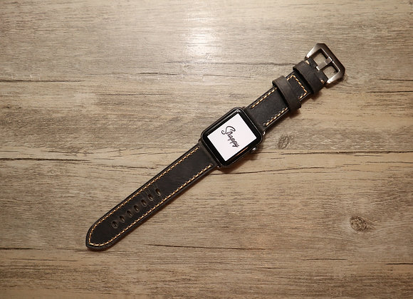Apple Watch Premium Textured Handmade Genuine Leather Watch Strap in Grey