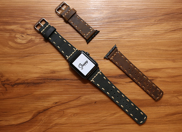 Apple Watch Hand Stitched Leather Strap