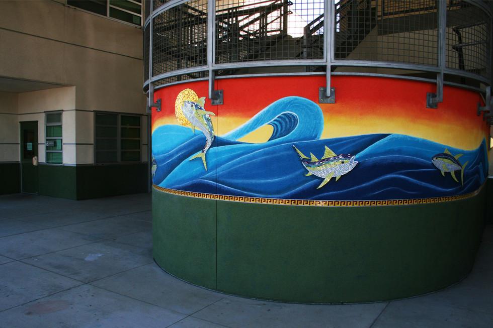 Colorful mosaic tuna fish mural at Burbank Elementary School