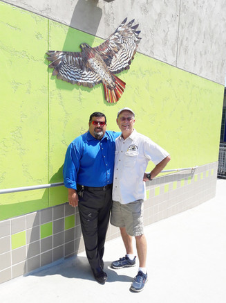 Mosaic hawk mural at Normal Heights Elementary
