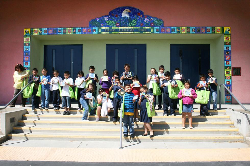 Mosaic eagle entrance at Perkins Elementary School