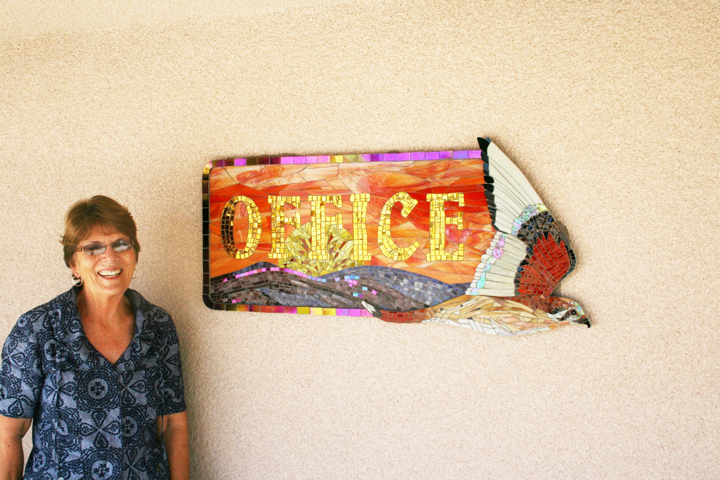 Mosaic falcon office sign at Seeley Elementary School