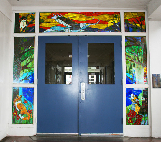 Stained glass mosaic door at Euclid Elementary School