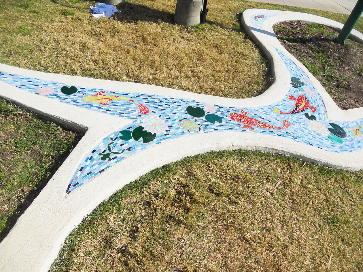Colorful mosaic garden art at Sunflower Elementary School