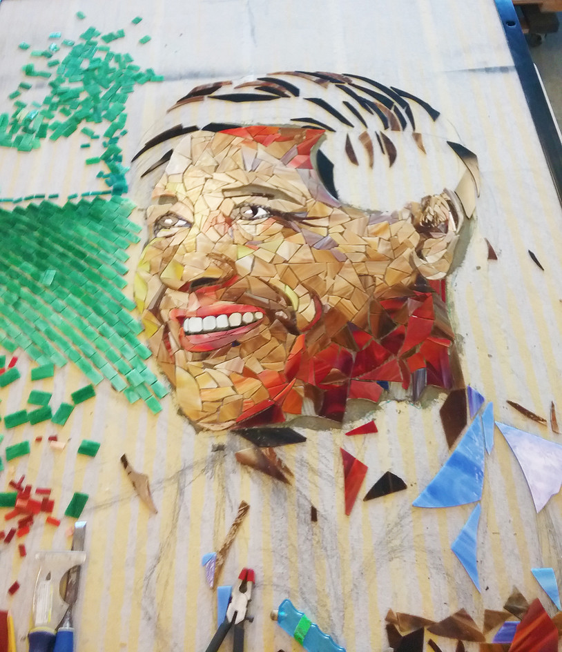 Colorful mosaic Cesar Chavez portrait at Cesar Chavez Elementary School