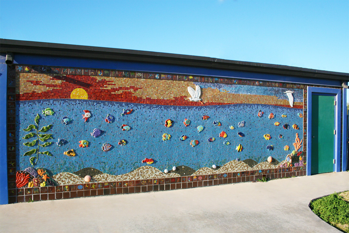 Colorful mosaic mural at the splash park in Imperial, California