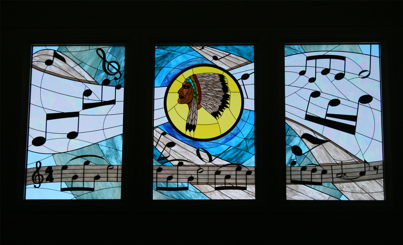 Stained glass design at Woodrow Wilson Jr High