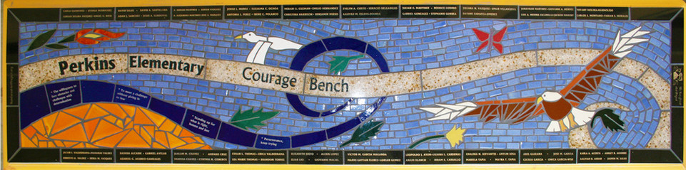 Student-designed mosaic bench at Perkins Elementary School