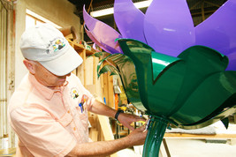 Working on steel for garden art at Sunflower Elementary School